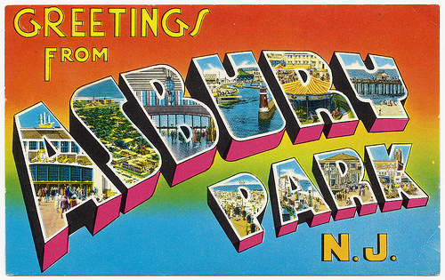 The postcard from Asbury Park that served as the basis for the album art.  The postcard is now constantly in print in Asbury Park, with the cultural connection to Springsteen noted on it.