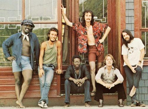 The E Street Band, in 1973.  (L to R: Clarence Clemons, Bruce Springsteen, David Sancious, Vini Lopez, Danny Federici, and Garry Tallent.)