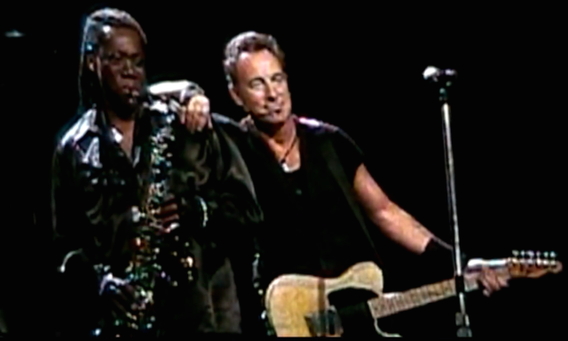 "Springsteen and Clemons, during the Buffalo 2009 performance of ""Growin' Up,"" recreate the iconic pose that adorns the cover of Born to Run."